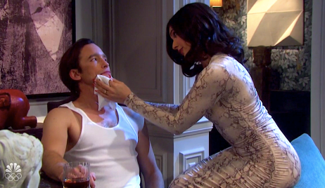 Gabi tends to Philip's split lip on Days of Our Lives