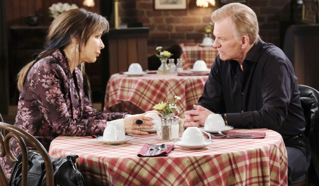 Kate and Roman at Brady's Pub on Days of Our Lives