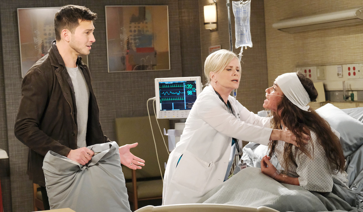 Kayla holds Ciara back from yelling at Ben on Days of Our Lives