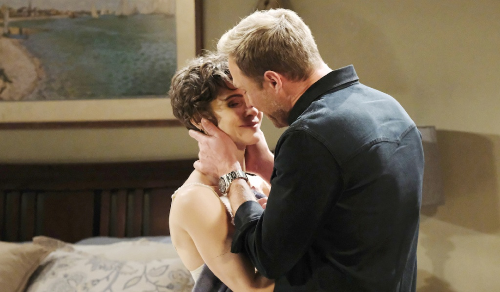 Kristen as Sarah kisses Rex on Days of Our Lives
