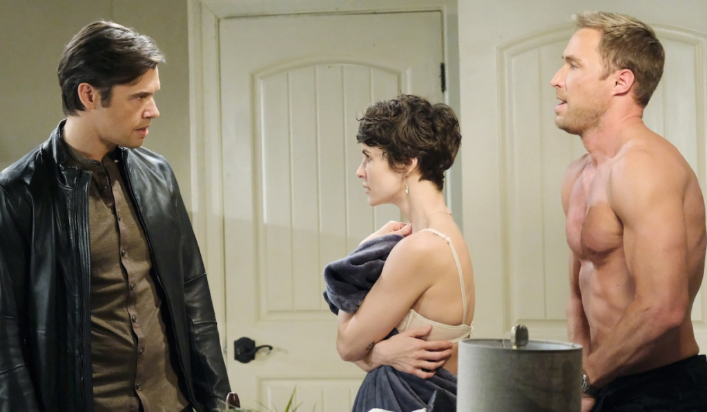 Xander fances Kristen as Sarah with Rex on Days of Our Lives