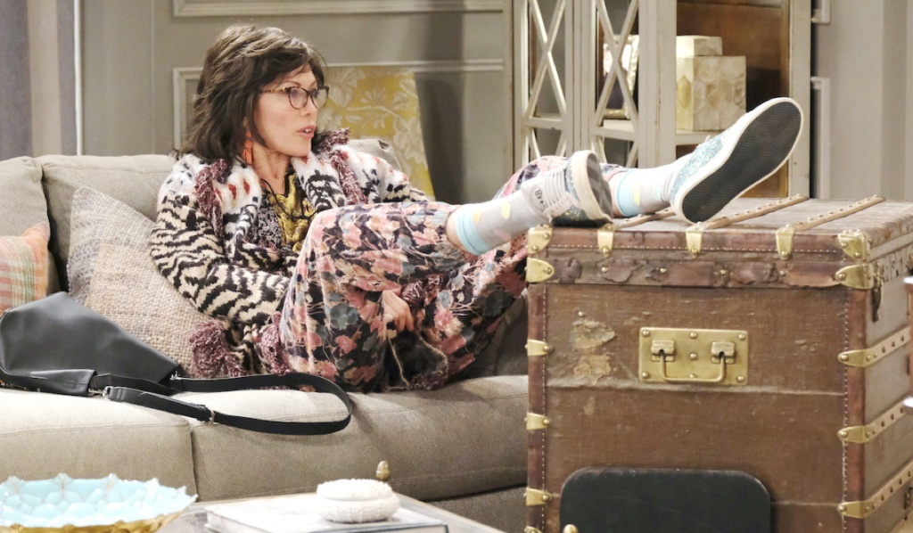 """""""Susan"""" props her feet on a trunk on Days of Our Lives"""