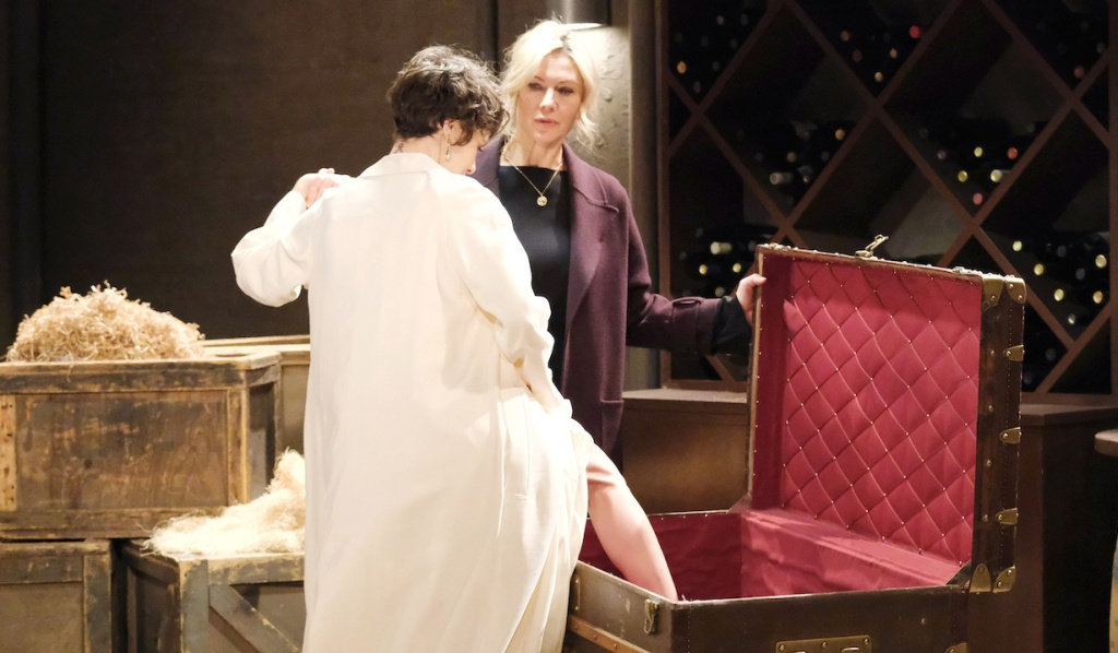 Kristen helps Sarah into a trunk on Days of Our Lives