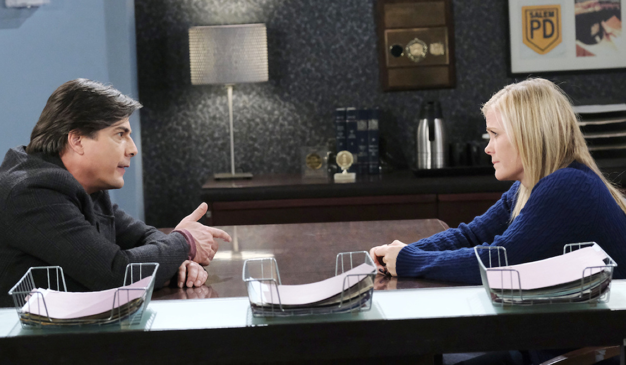 Lucas and Sami talk in the interrogation room on Day of Our Lives