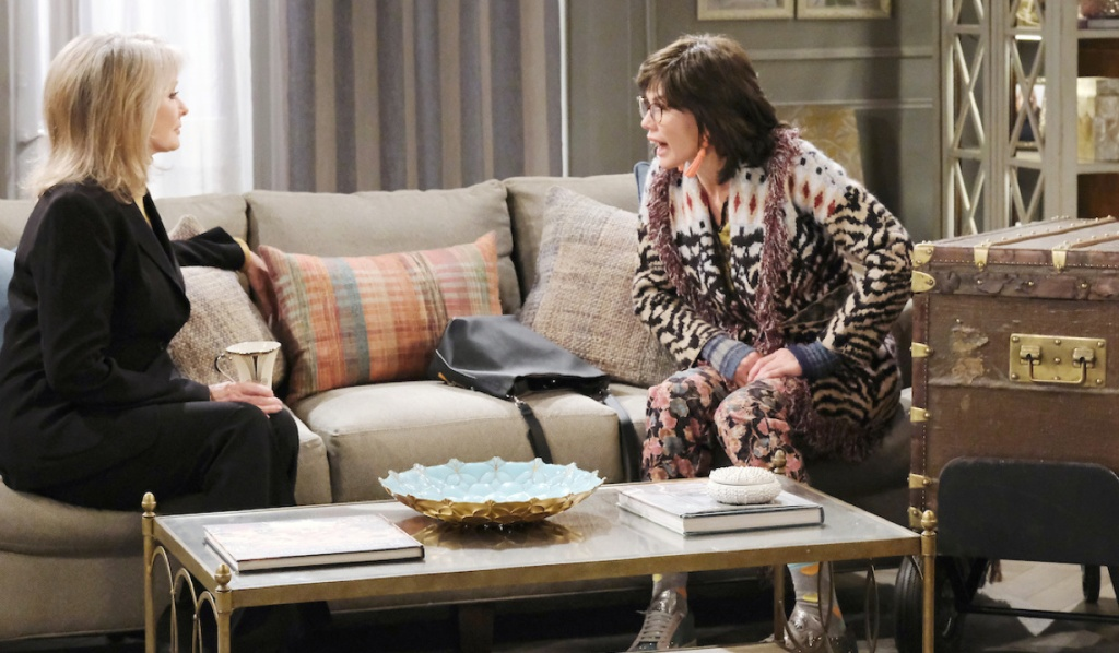 """""""Susan"""" sits next to the trunk while talking with Marlena on Days of Our Lives"""