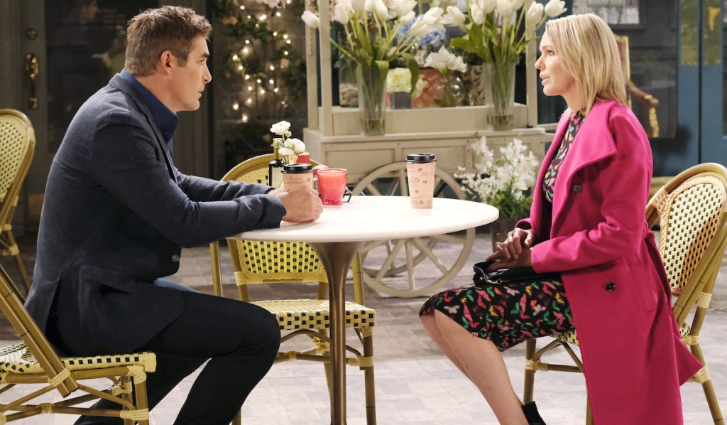 Rafe and Nicole have coffee in Horton Square on Days of Our Lives