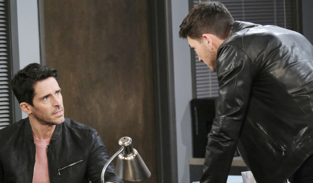 Ben leans in to make point with Shawn at precinct on Days of Our Lives
