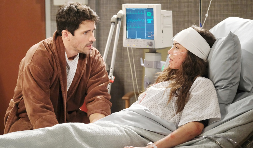 Shawn sits by Ciara's hospital bedside on Days of Our Lives