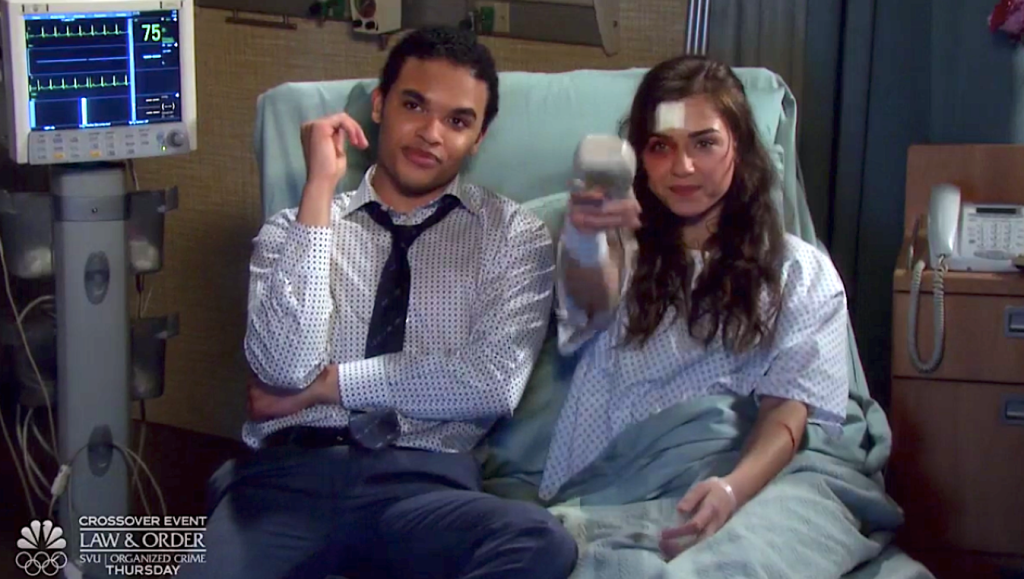 Ciara and Theo watch TV from her hospital bed on Days of Our Lives