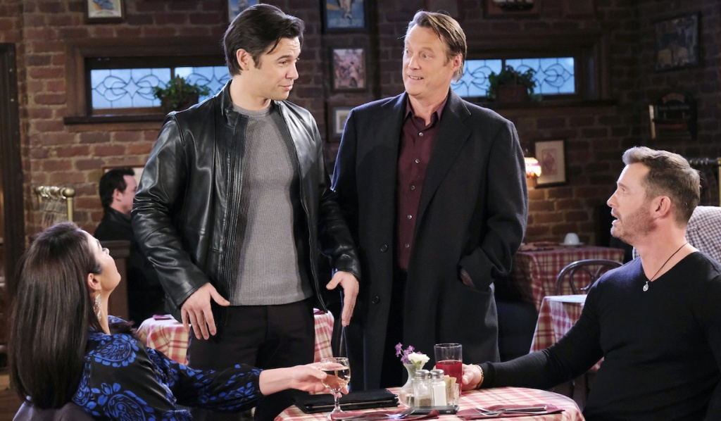 Xander and Jack interrupt Chloe and Brady at Brady's Pub on Days of Our Lives