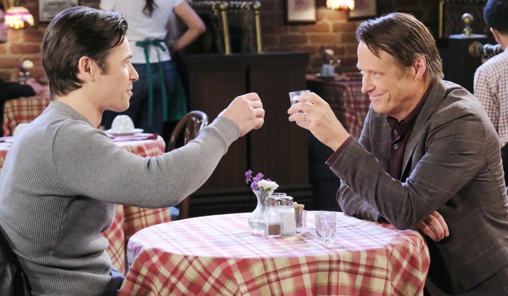 Jack and Xander toast at Brady's Pub on Days of Our Lives