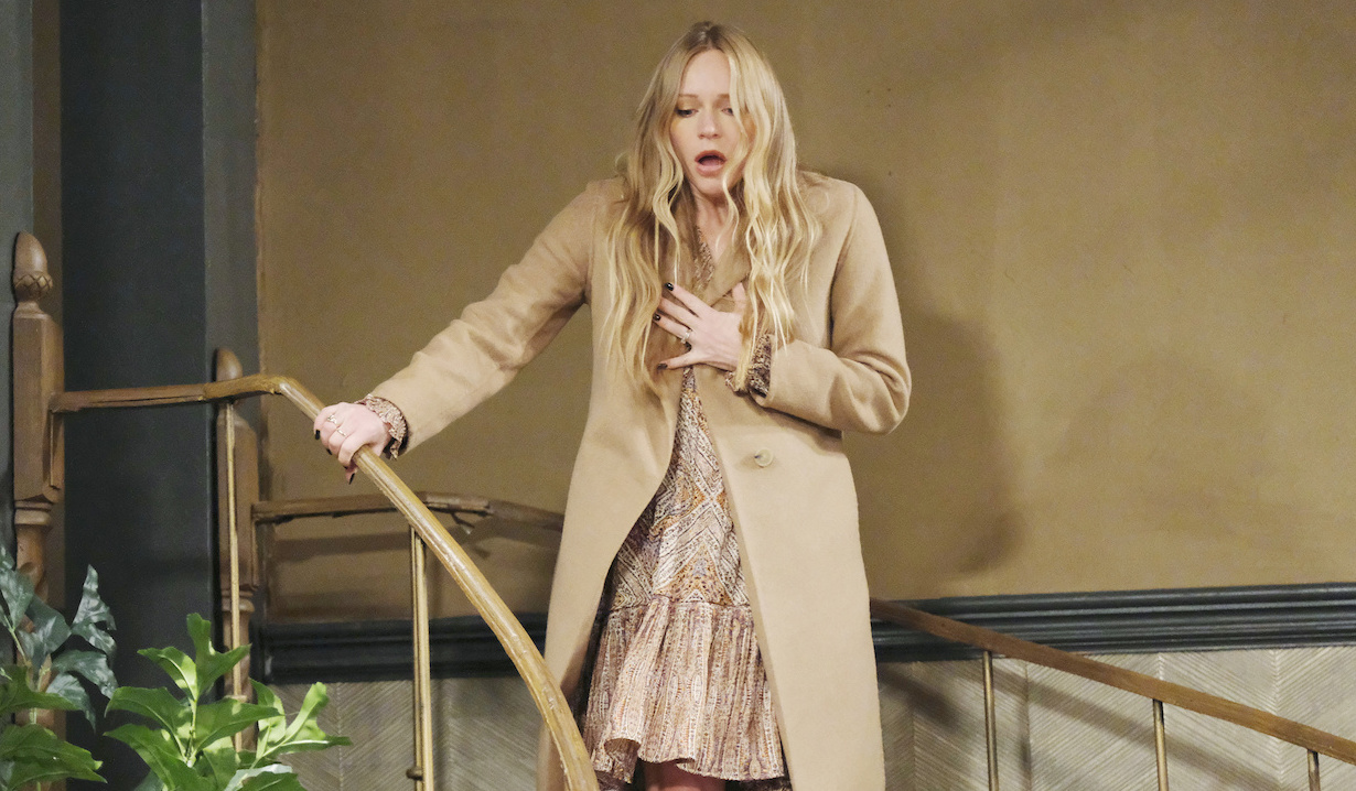 Abigail stands horrified at the top of the stairs on Days of Our Lives