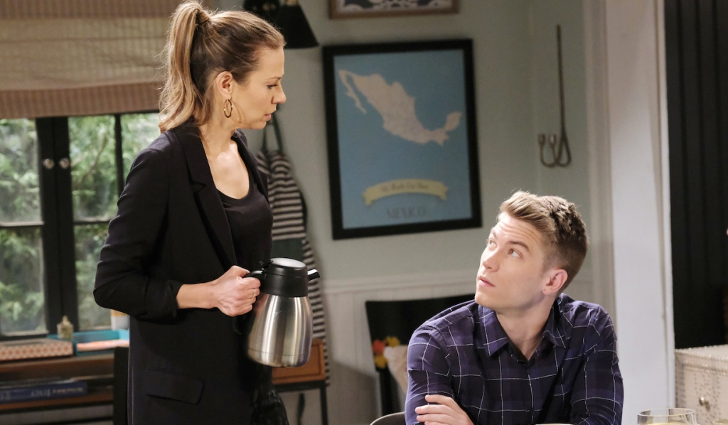 Ava serves Tripp coffee while having a serious conversation on Days of Our Lives
