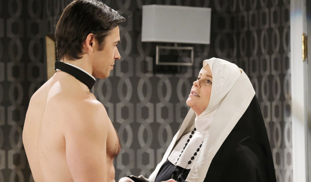 Shirtless Xander with Bonnie dressed as a nun on Days of Our Lives