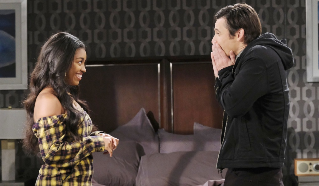Chanel and Xander giddily plot on Days of Our Lives