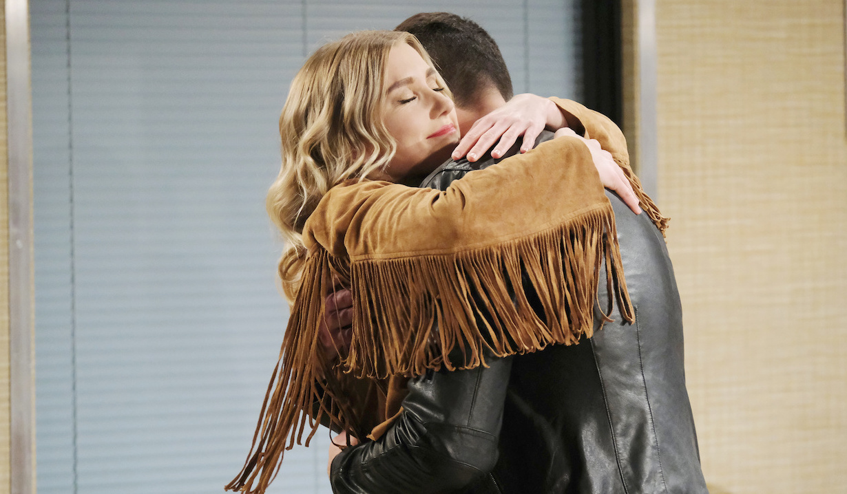 Claire hugs Ben at the hospital on Days of Our Lives