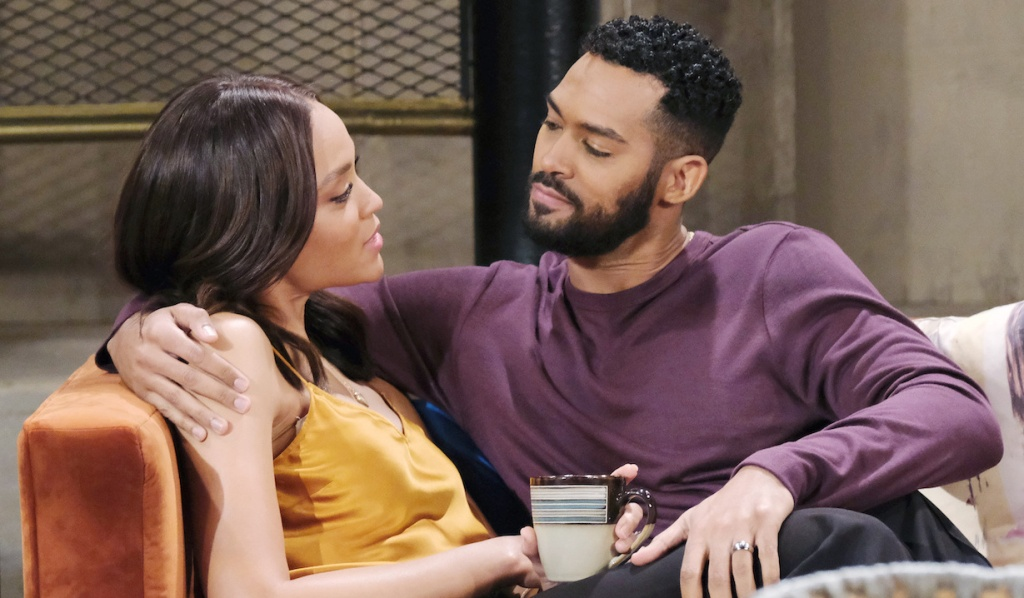 Eli and Lani get cozy on the couch on Days of Our Lives