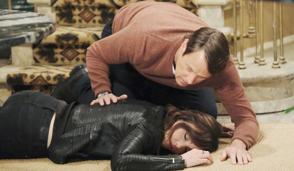 Jack leans over a lifeless Gwen on Days of Our Lives