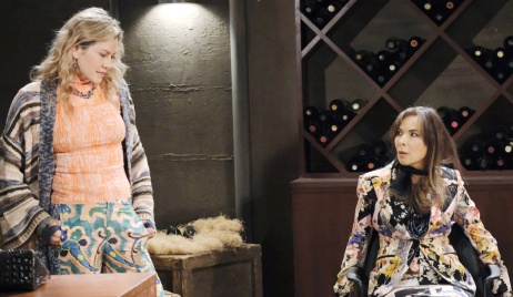 Kristen talks to a tied up Kate in the wine cellar on Days of Our Lives