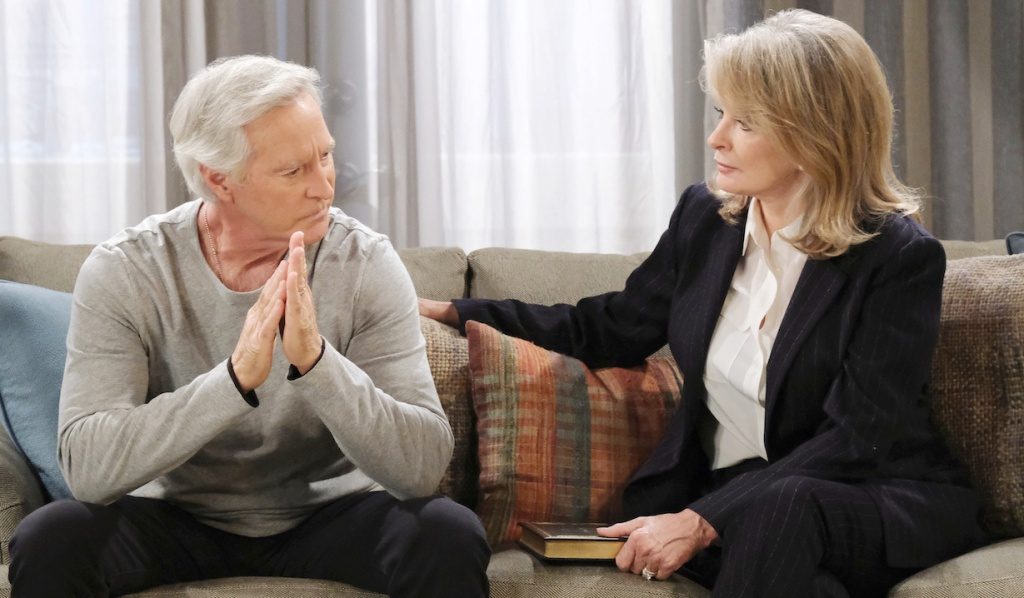 John and Marlena look worried talking at home on Days of Our Lives