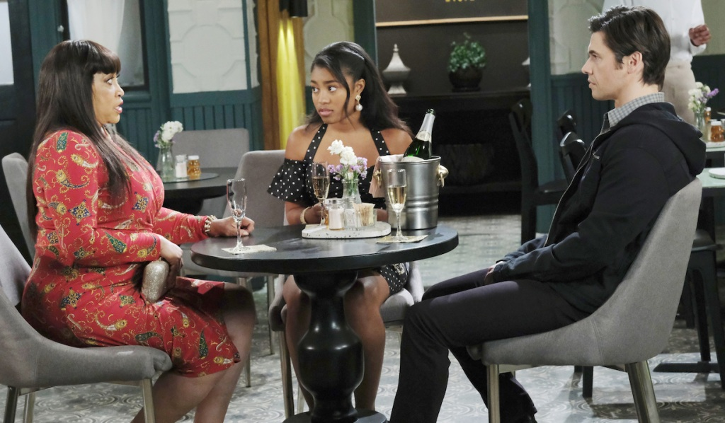 Paulina meets with Chanel and Xander on Days of Our Lives