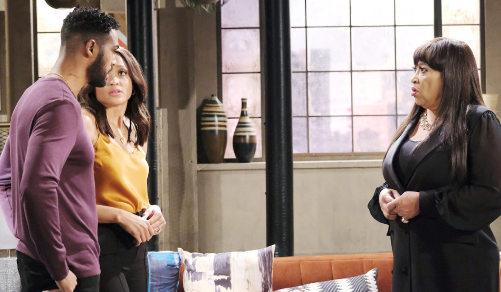 Paulina looks concerned talking to Eli and Lani on Days of Our Lives