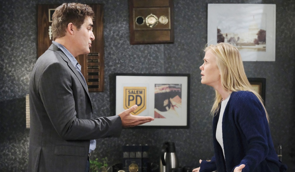 Sami's exasperated with Rafe at the SPD on Days of Our Lives