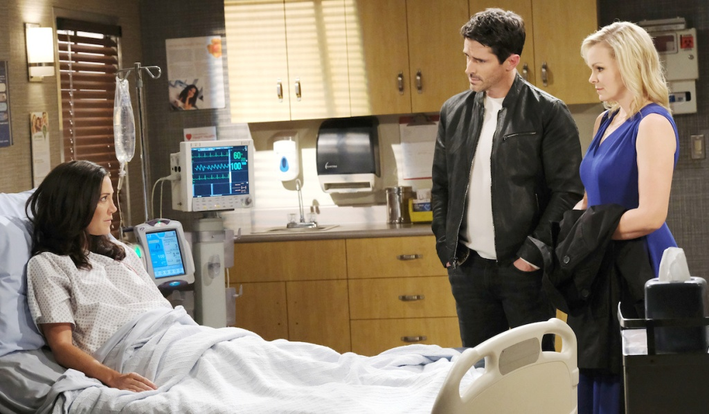Shawn and Belle visit Jan in the hospital on Days of Our Lives