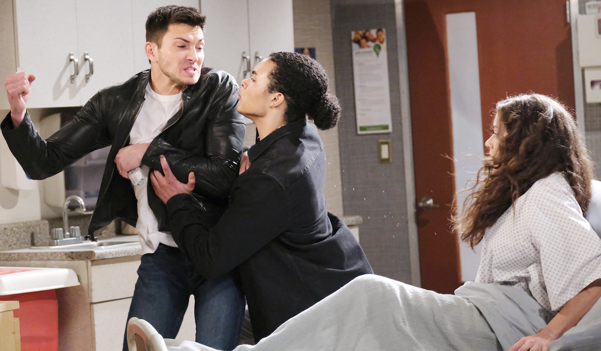 Theo pulls a desperate Ben away from Ciara on Days of Our Lives