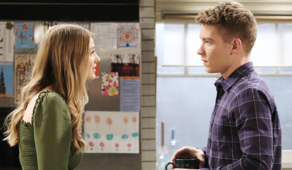 Allie and Tripp talk in the kitchen on Days of Our Lives