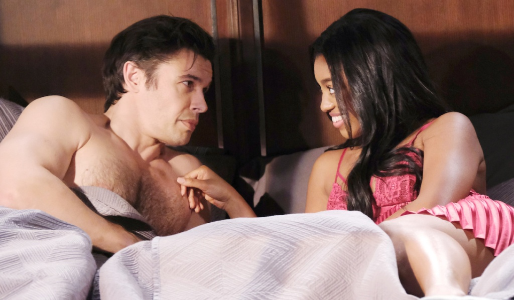 Chanel flashes a smile at Xander in bed on Days of Our Lives