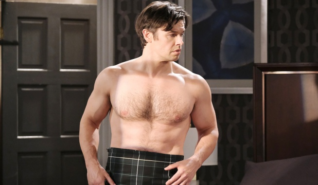 Shirtless Xander in a kilt on Days of Our Lives