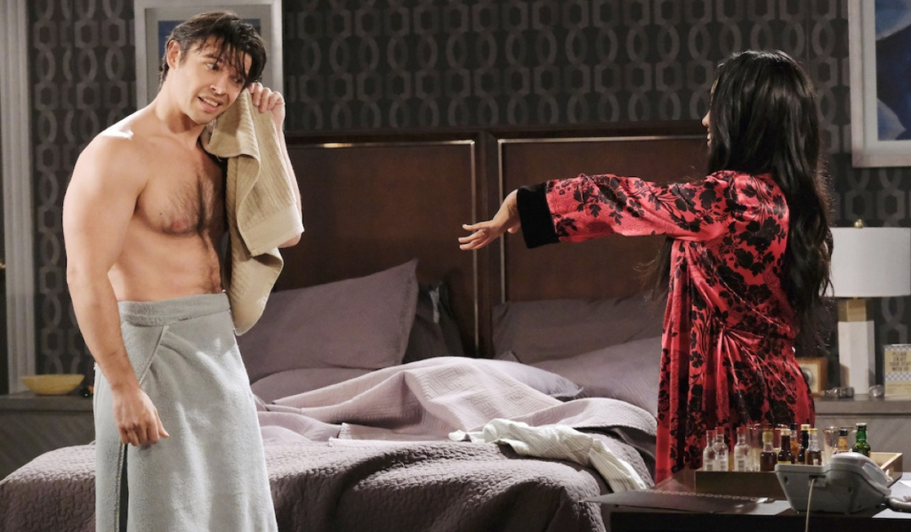 Chanel shows off her ring to Xander in a towel on Days of Our Lives