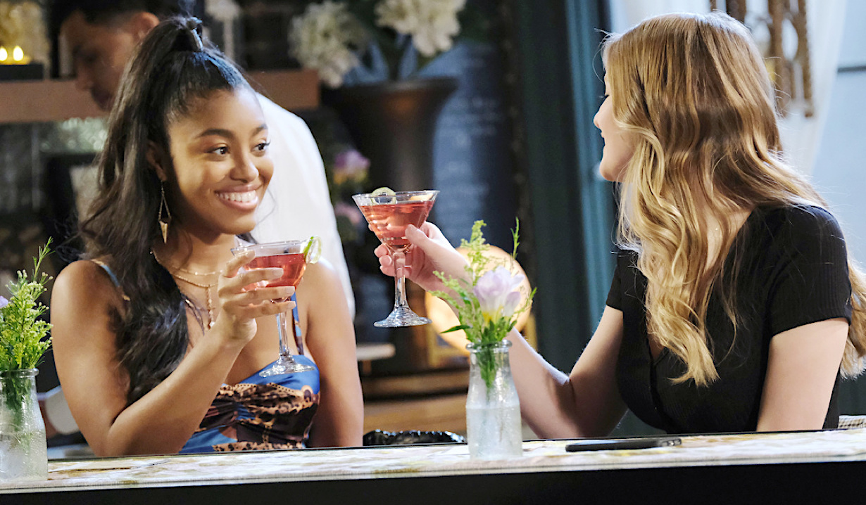 Chanel and Allie toast pink martinis at Julie's Place on Days of Our Lives