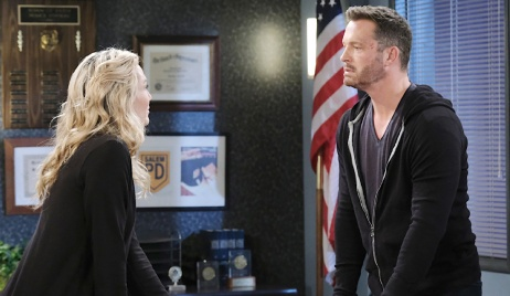 Brady confronts Kristen in the interrogation room on Days of Our Lives