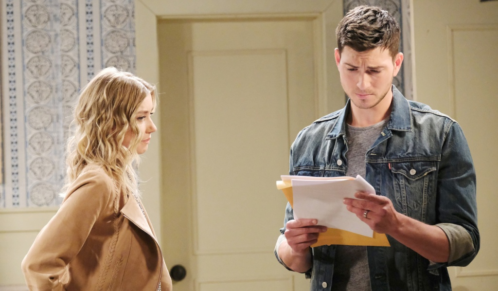 Claire and Ben reads his divorce papers on Days of Our Lives