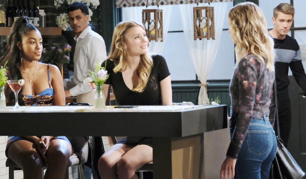 Claire and Tripp interrupt Chanel and Allie at Julie's Place on Days of Our Lives
