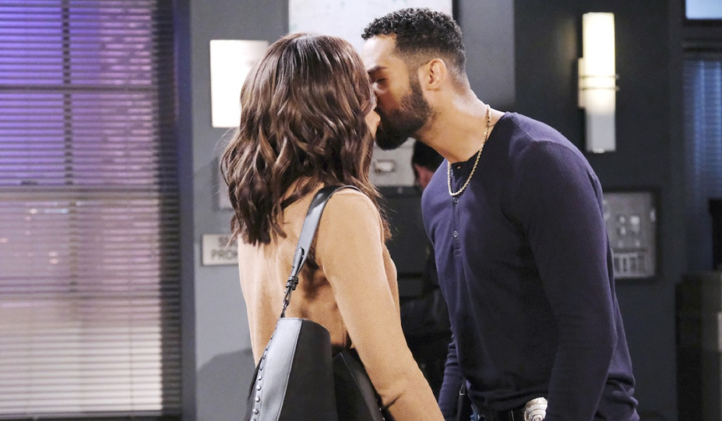 Eli and Lani kiss at the police station on Days of Our Lives