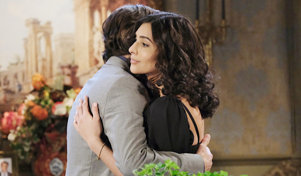 Gabi and Philip hug on Days of Our Lives