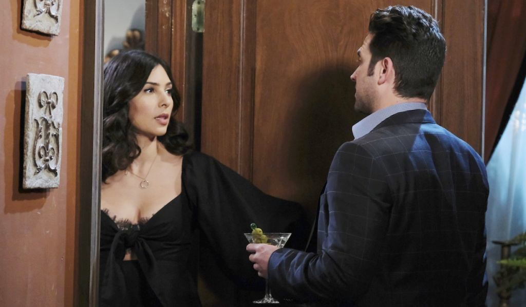Jake brings Gabi a martini in her room on Days of Our Lives