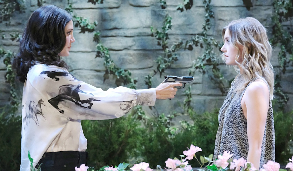 Jan aims a gun at Claire on Days of Our Lives