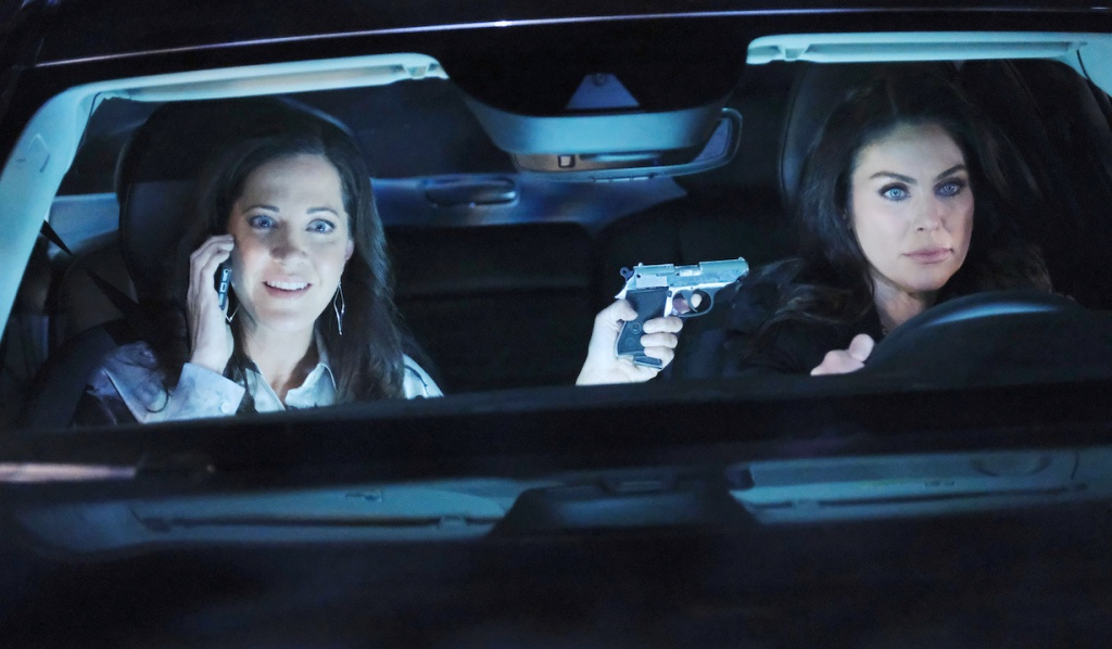 Jan holds Chloe at gunpoint in the car on Days of Our Lives