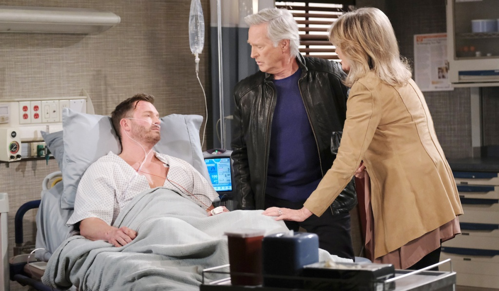 John and Marlena at Brady's hospital bedside on Days of Our Lives