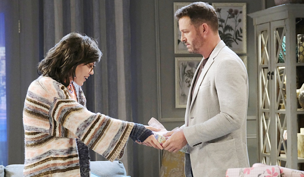 """""""Susan"""" takes a gift from Brady on Days of Our Lives"""