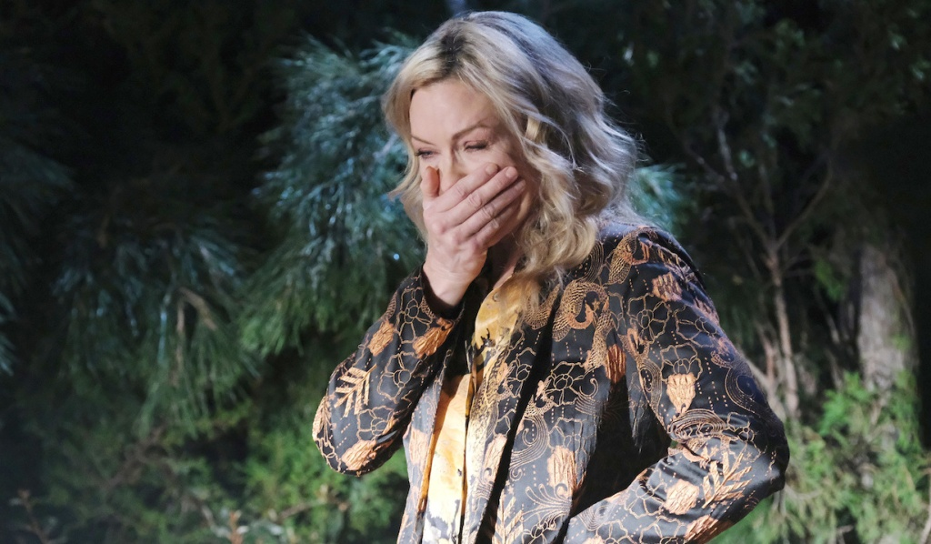 Kristen covers her mouth in horror on Days of Our Lives