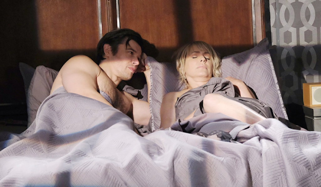 Xander and Nicole in bed on Days of Our Lives