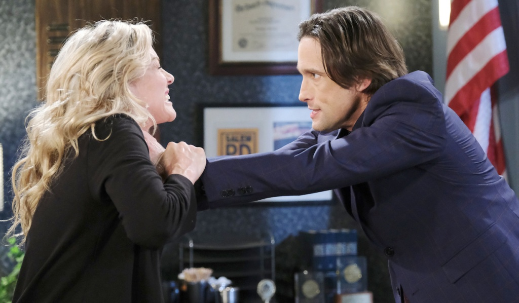 Philip strangles Kristen in the interrogation room on Days of Our Lives