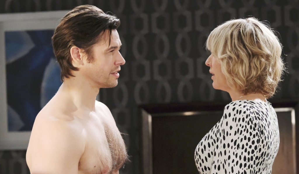 Shirtless Xander faces Nicole in Salem Inn room on Days of Our Lives