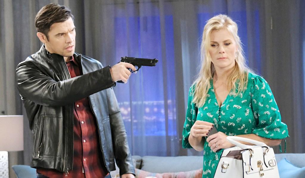 Xander holds gun on Sami on Days of Our Lives