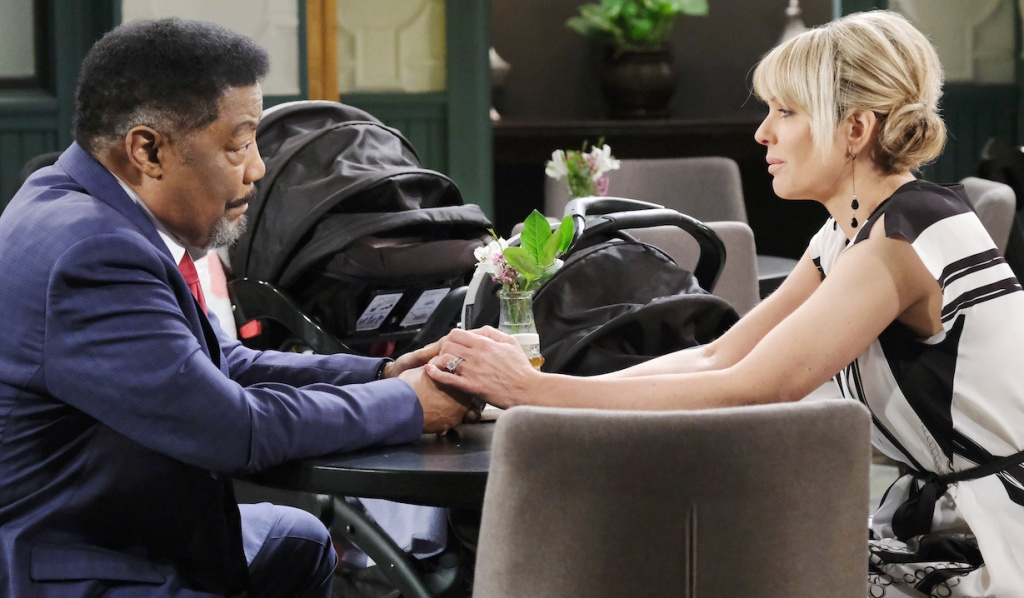Abe and Nicole visit at Julie's Place on Days of Our Lives